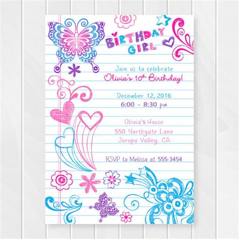 printable birthday cards for a teenage girl notebook doodles tween birthday invitation girl birthday