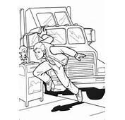 Dibujo De El Hombre Ara&241a Salta Del Veh&237culo Para Colorear