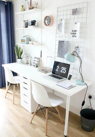 minimal scandi style home office   white desk