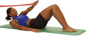 thera band abdominal oblique crunch in supine