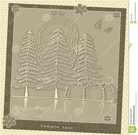 vintage pattern note cards vintage greeting card plant composition stock vector
