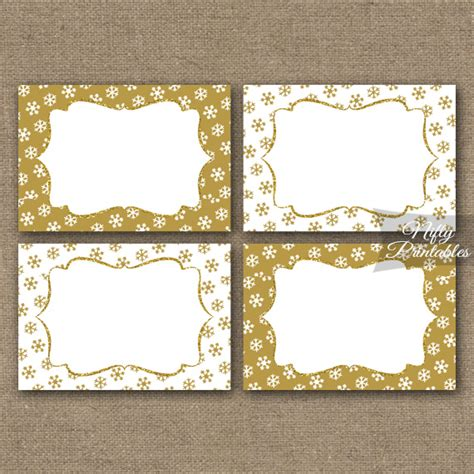 printable gold label gold snowflakes holiday labels favor tags nifty printables