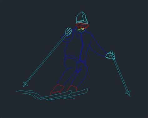 pepole ski  snowboarding  dwg block  autocad