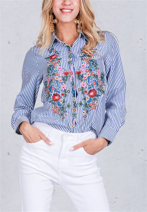 Embroidery Striped Blouse embroidery floral striped sleeve blouse