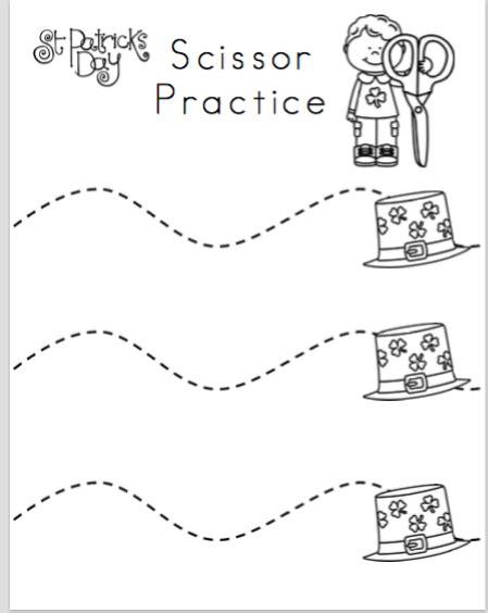preschool scissor activities printable st patrick s day scissor practice preschool printables