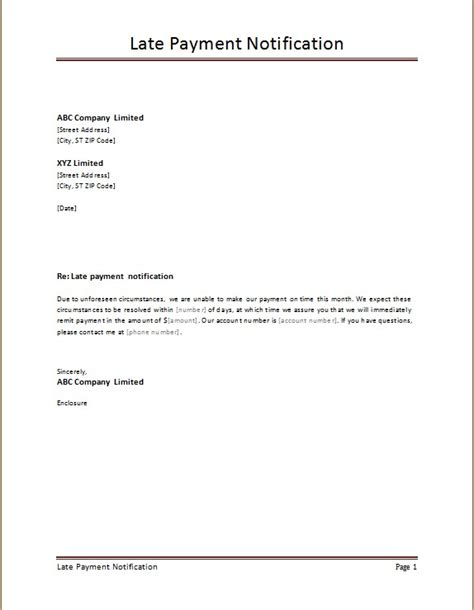 notification letter template exles late payment notification templates word excel templates