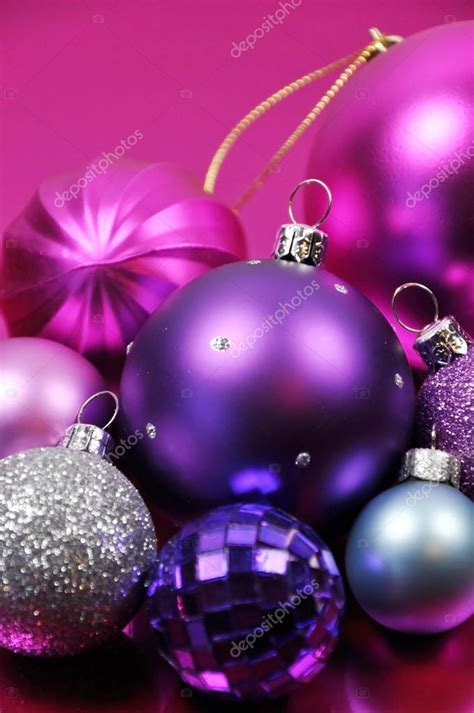 pink and purple christmas bauble decorations stock photo