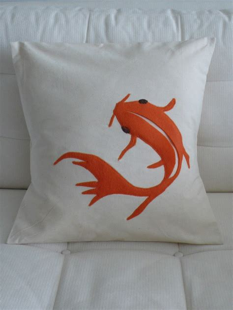 pillow fish appliqued koi fish pillow cushion cover 16in x 16in