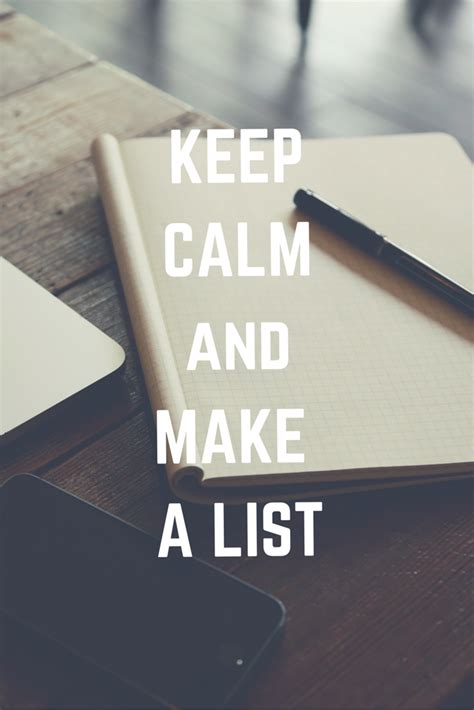 keep calm and make a list diy