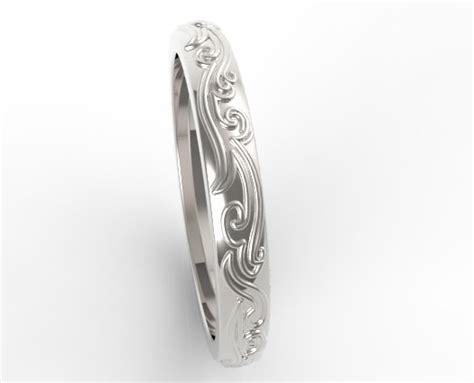 Wedding Rings Leaves by Leaves Engraved Wedding Band Vidar Jewelry Unique