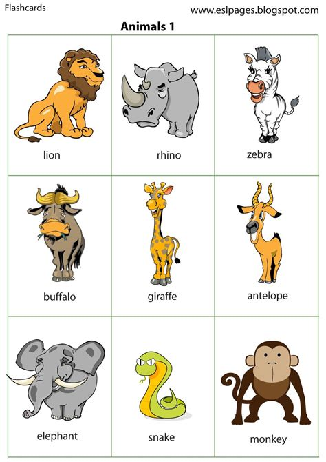 esl printable animal flashcards esl pages animals flashcards and pictures like that