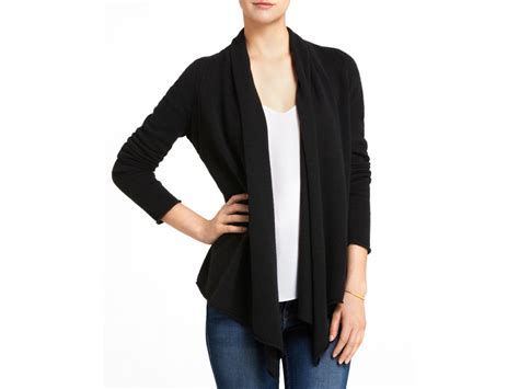 black drape front cardigan aqua cashmere cashmere drape front cardigan in black lyst