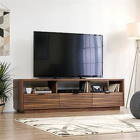 tv credenza sauder harvey park grand walnut entertainment credenza