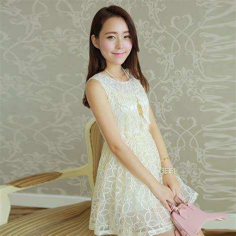 Renda Bordir baru 2014 gaun musim panas wanita pakaian manis renda bordir tangki organza tipis kepulan