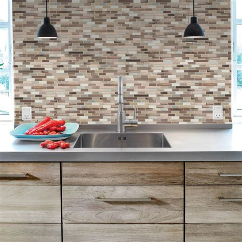 kitchen backsplash tiles peel and stick smart tiles muretto durango 10 20 in w x 9 10 in h peel and stick decorative mosaic wall tile