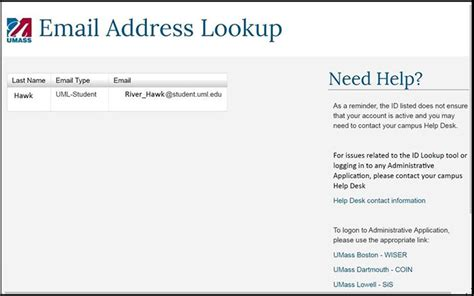 Username Email Search Getting Started With Sis Umass Lowell