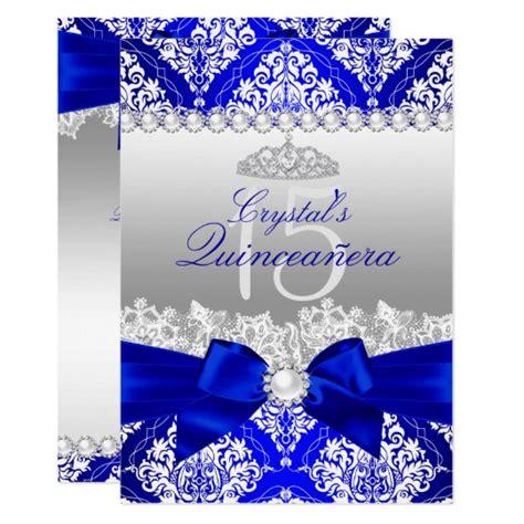 design a quinceanera invitation royal blue damask pearl bow quinceanera invite zazzle com