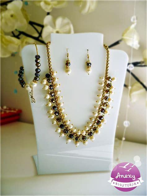 bisuteria con hilo tejido y cristal juego de cristales con elegante perla de r 237 o y chapa de