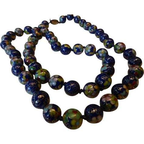 vintage cloisonne bead necklace vintage blue cloisonn 233 bead necklace from