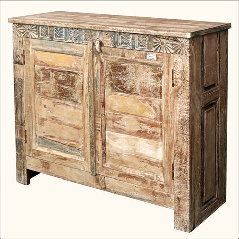 Rustic White Sideboard Buffet Console Rustic Reclaimed Storage Cabinet Wood Distressed Sideboard