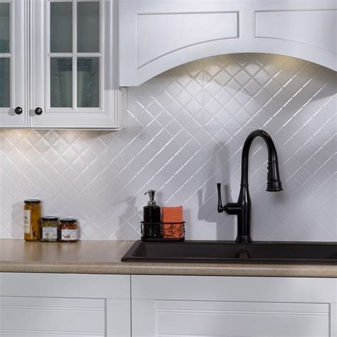 backsplash tile kits fasade quilted gloss white 18 square foot backsplash kit