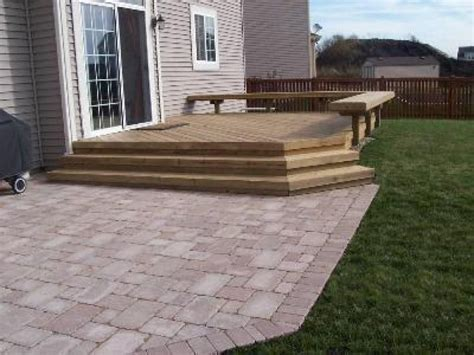 wood deck with paver patio deck and paver patio designs small decks and patios