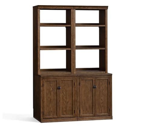 pottery barn bookcase logan bookcase with doors pottery barn