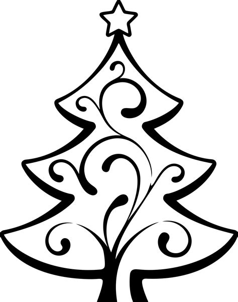 line drawing christmas clip art clipart abstract tree line 2