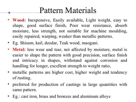 pattern materials used in casting casting process