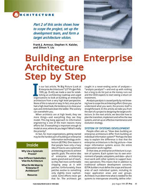 Building Enterprise Architecture by Pdf Building An Enterprise Architecture Step By Step