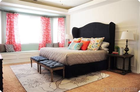 diy king size headboard on coral and navy are two of