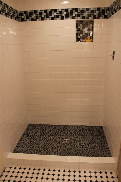 Bathrooms Tiles Designs Ideas by Subway Shower With River Rock Floor