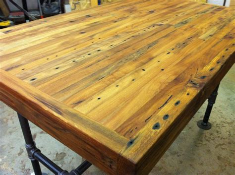 reclaimed butchers block reclaimed industrial kitchen island dining table featuring