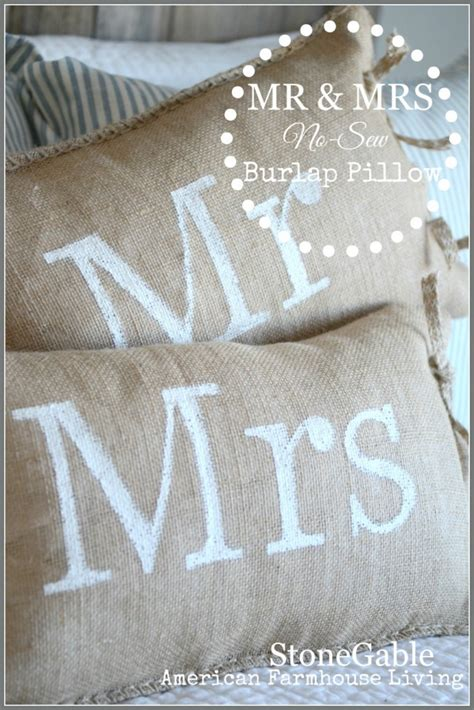 No Sew Burlap Pillow by No Sew Mr And Mrs Burlap Pillows Stonegable
