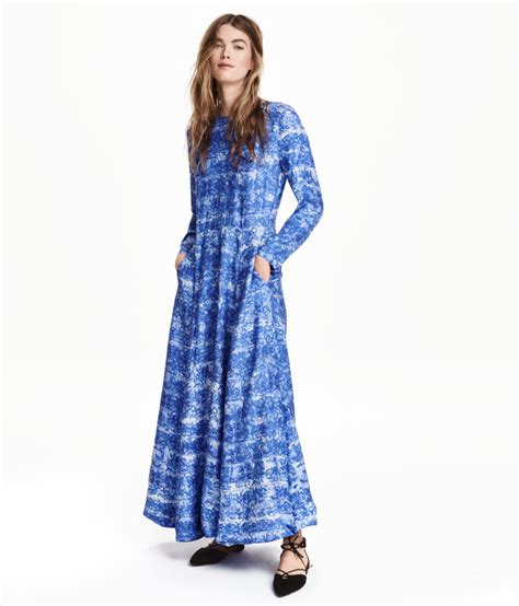 h m maxi dress in a lyocell blend in blue lyst