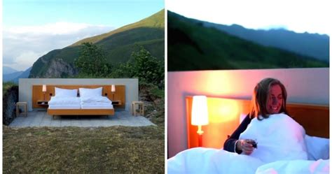 no walls this swiss hotel room has no walls no ceilings and no doors and it looks awesome