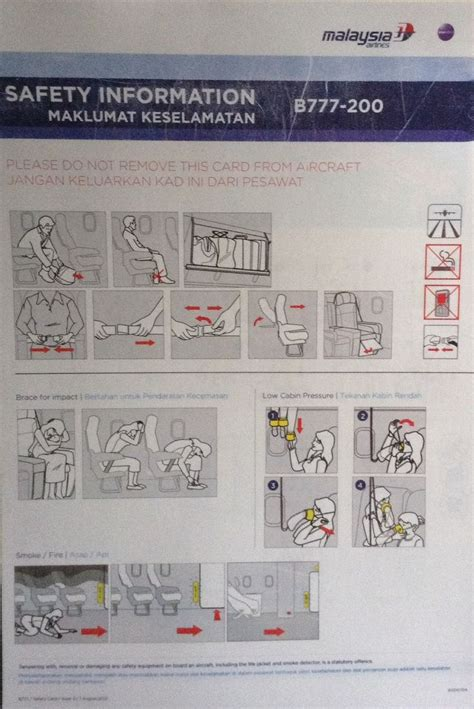 Collection Of Airline Safety Cards by Malaysia Airlines B777 200 Safety Card Aircraft Safety