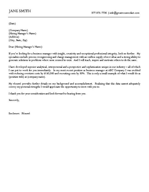 business manager cover letter business cover letter exle