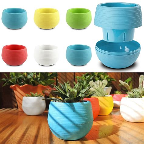 small mini colorful plastic flower planter pots home