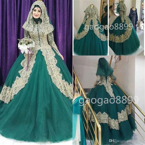 Abaya Turki Black Gold turkish islamic wedding dress 2016 couture gown