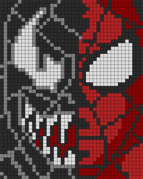 spiderman alpha pattern spiderman n venom perler perler bead pattern bead sprite