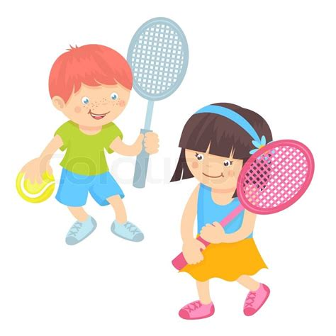 Find To Play Tennis With Boy And With Sport Equipment Tennis Isolated On White Background