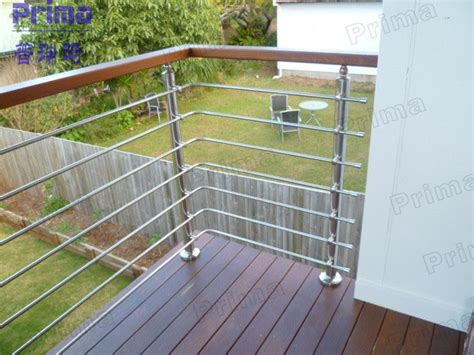 Stainless Steel Deck Railing Outside Stainless Steel Rod Wooden Handrail Cheap Deck