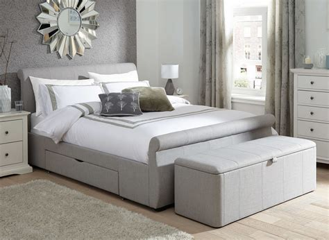 lucia silver fabric upholstered bed frame dreams