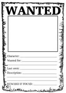black and white wanted poster template poster student and a character on