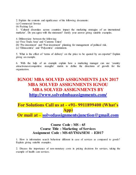 Free Assignments Of Mba by Ignou Mba Solved Assignments Free