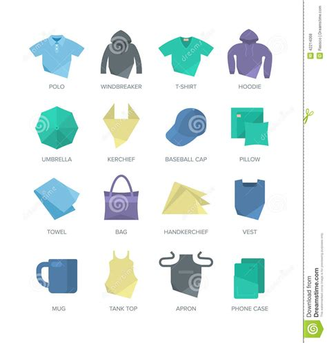 apparel and personal items icons stock vector image