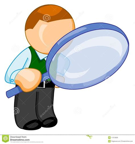 2d Floor Plans Man With Big Magnifying Glass Looks For Something Royalty