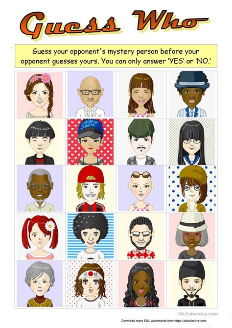 printable board game characters guess who boardgame with 20 characters worksheet free