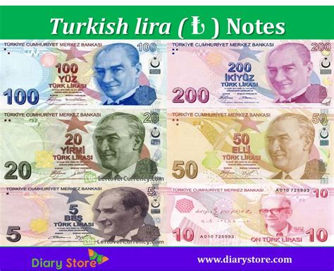 Turkish Lira Currency Turkey Currency Try Diary Store